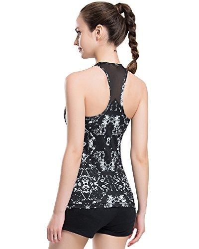 Campeak Women's Mesh Outdoor Running Vest Yoga Gym Fitness Tank Tops Built-in Shelf Bras(Broken Black - Tank Top Mesh Practice