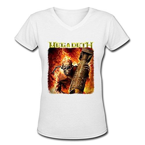 AOPO Megadeth V-Neck Short Sleeve Shirt For Women Small