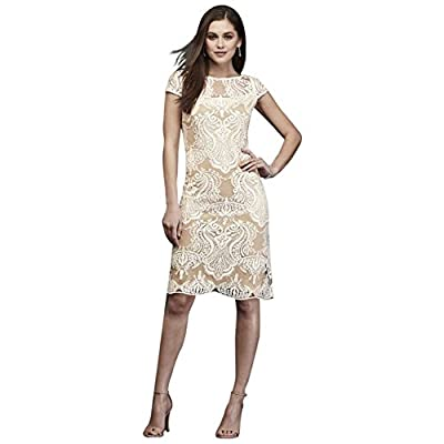 David's Bridal Short Embroidered Lace Wedding Dress with Sequins Style 3187