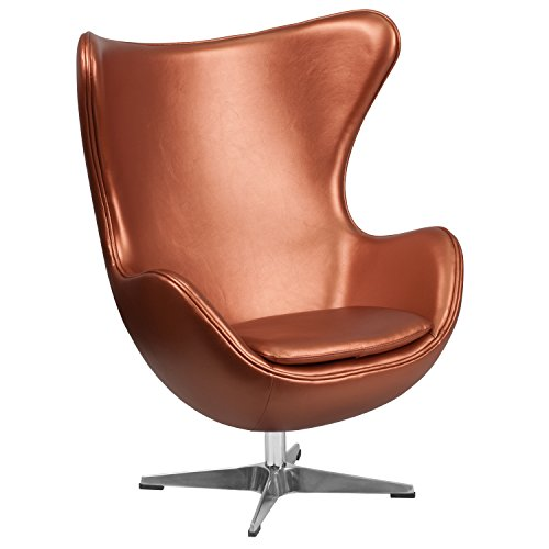 Flash Furniture Copper Leather Egg Chair with Tilt-Lock Mechanism