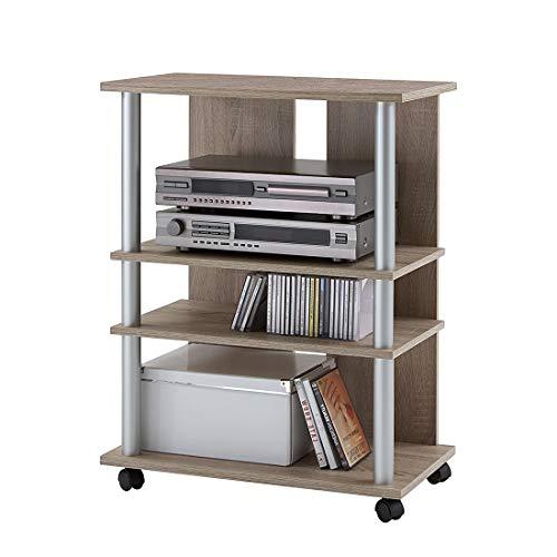 FMD Möbel 205-007 Variant 7 - Mueble Auxiliar para televisión y Equipo de música (65 x 85 x 40 cm), Color Roble