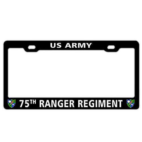 (75th Ranger Regiment US Army Black License Plate Frame Holder, Aluminum Metal License Plate Cover with Screw, 2 Hole Bracket Standard Size for US Vehicles)