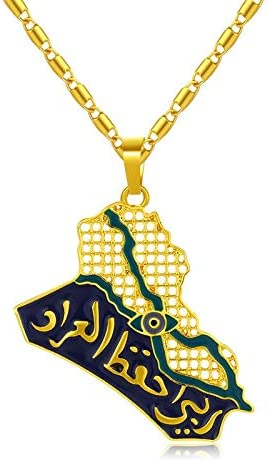 SWAOOS Map of Iraq Blue Eye Necklace Hip Hop Pendant Sweater Chain Birthday Gift Fashion Jewelry