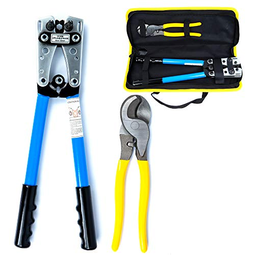 KOTTO Battery Cable Lug Crimper Tool 6-50mm², Wire Crimping Tool, Pliers for Crimping Wire Cable with Cable Cutter for 10,8,6,4,2 and 1/0 AWG Wire Cable Cutting and Crimper with Storage Bag