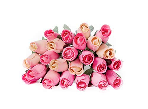 - 24 Realistic Wooden Roses - Pink and Cream Rose Buds - Shades of Pink
