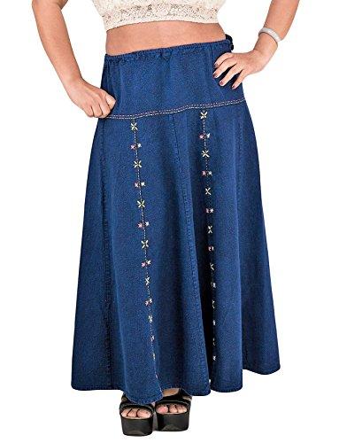 Indigo Floral Skirt (ThaiOnline4u Womens Maxi Denim Cotton Jeans Skirt Embroidered Navy Blue Floral Handmade Casual Regular (Navy Blue))