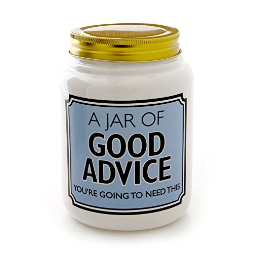 """Wishing Jar (Our Name is Mud """"Good Advice"""" Ceramic Jar with Lid, 5.5 Inches)"""