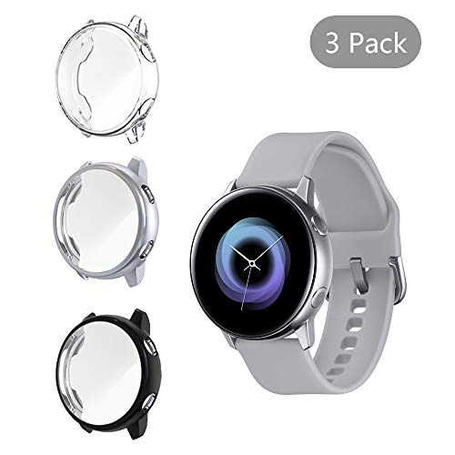 [3 Pack] LittleForest Smartwatch Case Compatible for Samsung Galaxy Watch Active Screen Protector, Full Body Protection TPU Anti-Scratch Cover for Samsung Galaxy Watch Active 40mm- [Black+Gray+Clear]