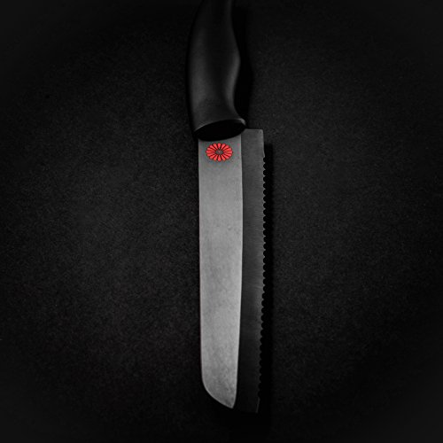 Kikusumi 4-Piece Chef Knife Gift Set Bundle - SUMI Black Handle + Black Ceramic Blade - 7 inch Gyuto Chef Knife + 5 inch Santoku + 3 inch Paring + 8 inch Serrated Bread Knife + 4 Knife Sheaths by Kikusumi (Image #8)