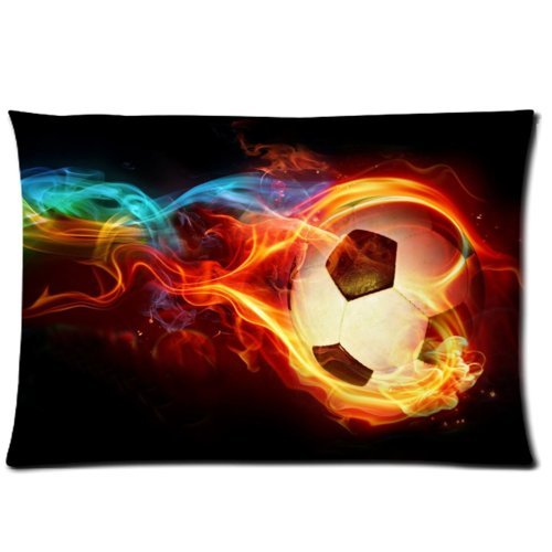 Funny Flaming Soccer Pillowcase - Pillowcase with Zipper, Pillow Protector, Best Kids Pillow Cover for Soccer Lovers - Size 20x30 inches ()