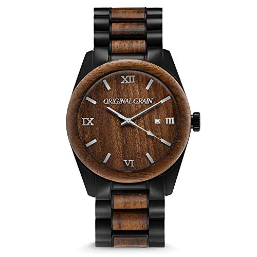 Original Grain Mahogany Gold Wood Watch - Classic Collection Analog Watch - Japanese Quartz Movement - Wood and Stainless Steel - Water Resistant - Wrist Watch for Men - 43MM