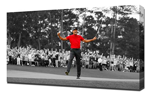 (Lilarama USA Tiger Woods Masters Win 2019 1 Black and White and Red - Canvas Art Print - Wall Art - Canvas Wrap)