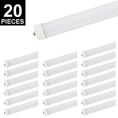 20Pack 8ft T8 LED Tube, CNSUNWAY LIGHTING 45W 96'' FA8 Single Pin Light Bulb 6000K Cool White 4800LM Lamps (20, Frosted Cover) by CNSUNWAY LIGHTING