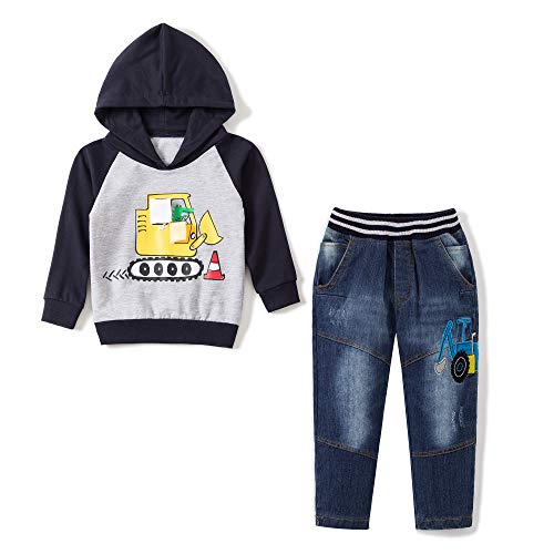 Baby Love Toddler Boys Clothes Outfit Truck Applique Hoodie Denim Jeans 2PCS Set (2T, Navy)
