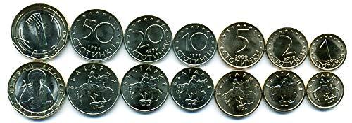 Bulgarian 7 Coins Set 1999-2002 UNC Bulgaria STOTINKI, LEV Collectible Coins to Your Coins Album, Coin Holders OR Coin Collection