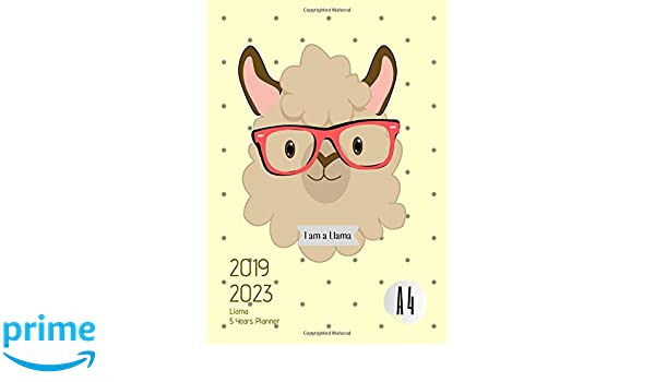 2019-2023 Five Year Planner A4 Llama Goals Monthly Schedule ...