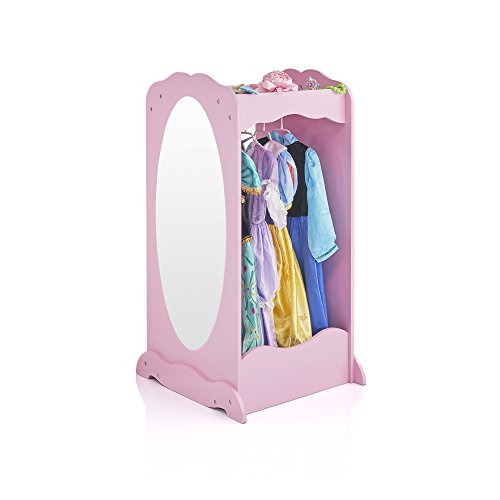 Guidecraft Dress Up Cubby Center – Pink: Costumes & Accessoires Storage Shelf and Rack with Mirror for Little Girls and Boys - Toddlers Wooden Wardrobe Closet ()