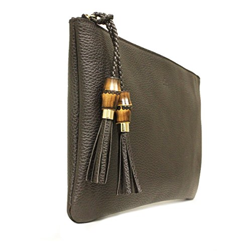 8213a68f64a7 Gucci 376858 Brown Leather Bamboo Braided Tassel Large Clutch Bag ...