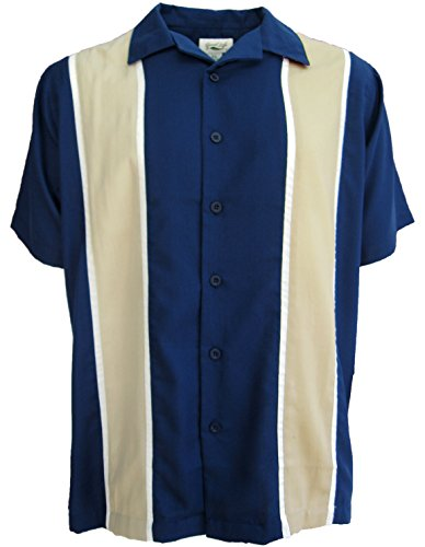 Camp Shirt Panel (Good Life Mens Relaxed Fit Camp Shirt Casual Button Down Wrinkle Resistant (Estate Blue, XL))