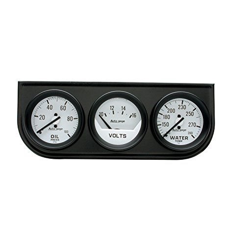 Auto Meter 2327 Autogage Mechanical Oil/Volt/Water Gauge with Black ()