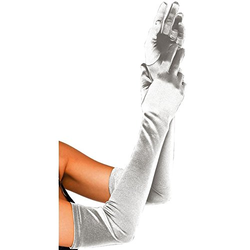 CHIC DIARY Long Satin Stretch Gloves Above Elbow Bridal Prom Wedding Formal Party Gloves (Grey)
