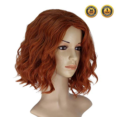 Black Widow Wig Avengers Womens Wigs-Halloween Short Curly Wig Cosplay Costume Party One Size Hair Wig Cap