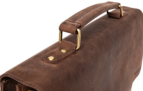 LEABAGS Miramar Briefcase of Genuine Buffalo Leather in Vintage Look - Muskat by LEABAGS (Image #7)