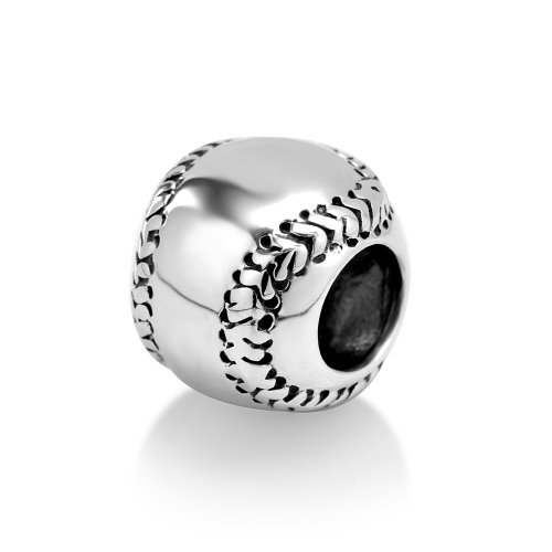 925 Sterling Silver I Love Baseball Softball Sport Bead Charm Fits Major Brands Bracelet by Sterlina Jewelry