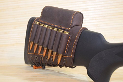 vsdfvsdfv Real Leather Rifle Cartridge Holder Buttstock Cheek Rest Pad Gun Vintage (Red-brown right))