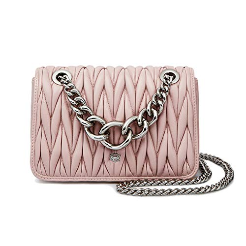 Chain Messenger Ladies Rhombic Folds Shoulder Black 2018 White Casual Sheepskin color Bag ngFIxWUq