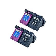 JUSTCOLOR Remanufactured Ink Cartridge HP 63 63XL Compatible for HP Envy 4520 4512 Officejet 4650 3830 3831 4655 Deskjet 1112 2130 3630 2130 3632 2132 3636 3633 Printer (2 Black / 2 Color, 4 Pack)
