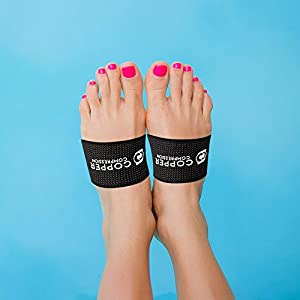 Copper Compression Copper Arch Support - 2 Plantar Fasciitis Braces / Sleeves. GUARANTEED Highest Copper Content. Foot Care, Heel Spurs, Feet Pain, Flat Arches (1 PAIR Black - One Size Fits All)