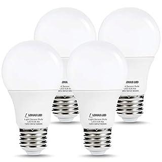 L LOHAS LED Dusk to Dawn Light Bulb, 6W(40W Equivalent) LED Outdoor Sensor Light Bulbs, Auto on/Off, A19 Daylight 5000K E26 LED Security Bulb, Dusk Till Dawn Indoor/Outdoor Lighting for Porch, 4 Pack