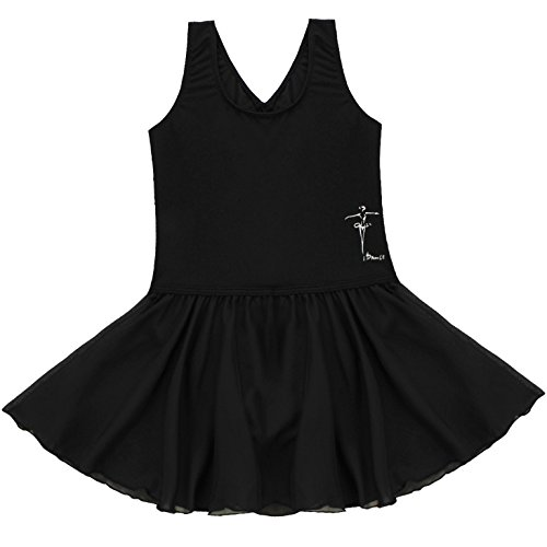 FEESHOW Girls' Gymnastic Leotard Dress Camisole Ballet Dance Ruffle Tutu Skirt Tank Black (Ruffle Skirt)