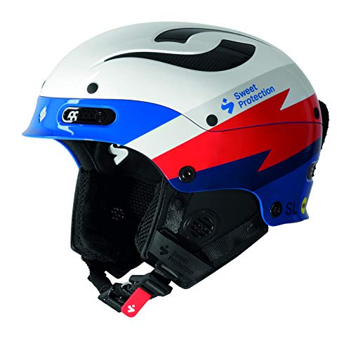 Sweet Protection Trooper II SL MIPS TE Slalom Race Ski Helmet, Gloss White/Flash Blue, Small/Medium