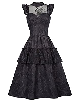 Belle Poque Steampunk Victorian Gothic Lace Swing Dress Women Maxi Dress