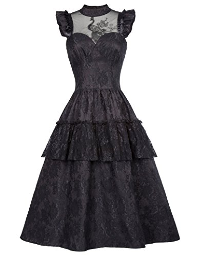 Black Steampunk Victorian Lace Maxi Dresses Gothic Costume BP380-1 M]()