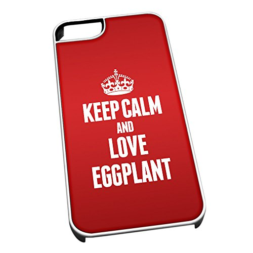 Bianco cover per iPhone 5/5S 1065Red Keep Calm and Love melanzana