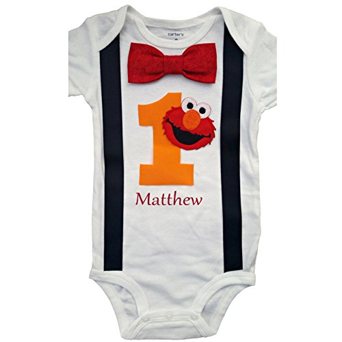 Baby Boys 1st Birthday Outfit Elmo Bodysuit - Personalized]()