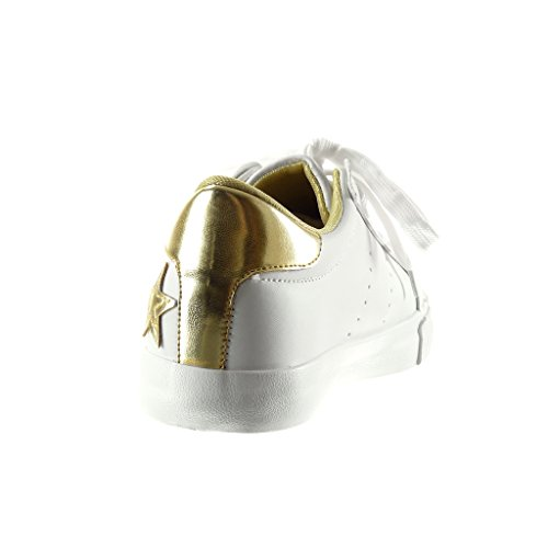 Angkorly - Zapatillas de Moda Deportivos mujer estrella bordado Talón tacón plano 2.5 CM - Blanco