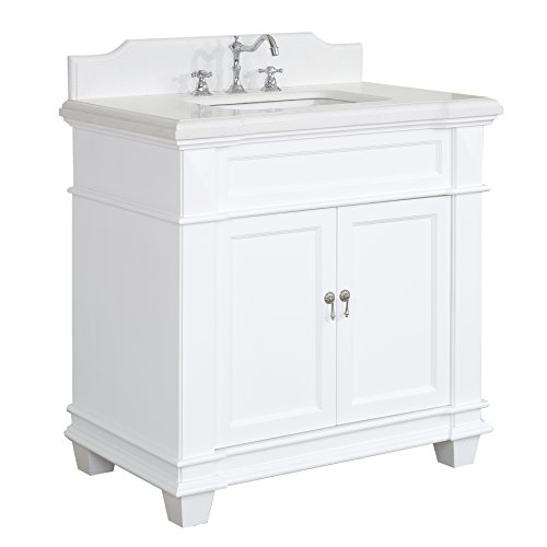 Elizabeth 36-inch Bathroom Vanity (Quartz/White): Includes White Cabinet with Soft Close Drawer & Self Closing Doors, Quartz Top, and Rectangular Ceramic ()