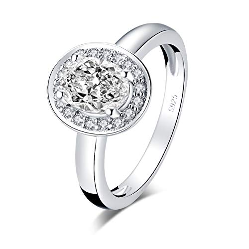 WOAINI 1.25 Carats Oval Cut Simulated Diamond CZ Rhodium Plated Sterling Silver 925 Halo Anniversary Engagement Rings (5)