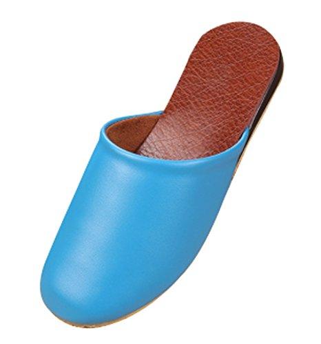 Cattior Dames Kleurrijke Huis Pantoffels Leren Slippers Blauw