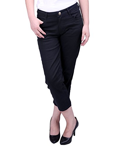 HDE Women's Mid-Rise Stretchy Relaxed Fit Cropped Jeans Denim Capri Pants (Black, X-Large)