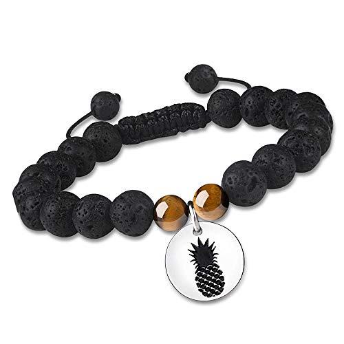 Pineapple Flower Essential Oil Diffuser Bracelet for Women Black Adjustable Lava Rock Stone Bead Spiritual Natural Genuine Gemstone Energy Balance Spiritual Meditation Protection Healing Religious