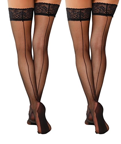 YENITA 2 Pairs Back Seamed Sexy Thigh High Stockings Lace with Double Silicone Hold Ups Stockings (Black, L/XL)