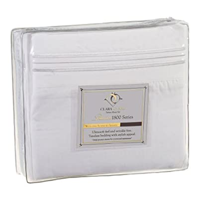 Clara Clark Premier 1800 Series Bed Sheet Sets - Stay fit on mattress with elastic straps at corners