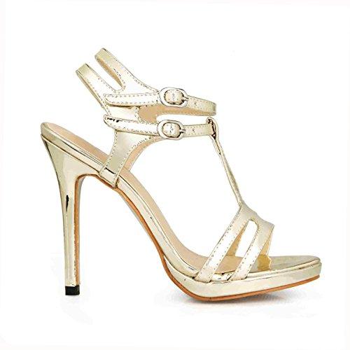 Peep mujer Slingbacks toe de de de de goma cuero 4U® verano de la Sandalias boda suela altos de la 12CM Bombas de EU36 Oro patente Tacones Best Zapatos XCPxq