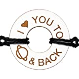 Life Token Engraved Message I Love You to Saturn and Back Novelty Jewelry Gift Bracelet for Both Men and Women