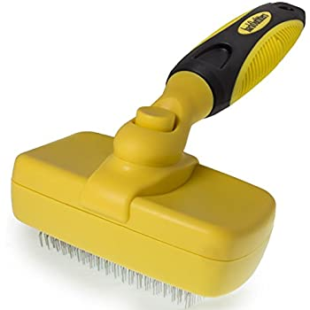 barkOutfitters Dog Slicker Brush - Quick Self-Cleaning Pro Quality Grooming Comb - 5 Year 100% Guarantee - Gently Removes Loose Undercoat - Eliminates Mats & Tangles Shedding